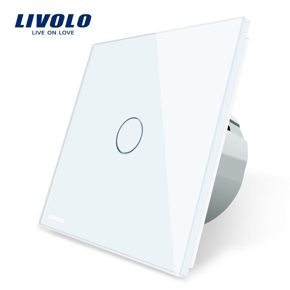 Livolo ЕС стандартный настенный выключатель сенсорный выключатель роскошный белый стекло, 1 gang 1 позиционный переключатель, AC 220-250 C701-11/2/3/5