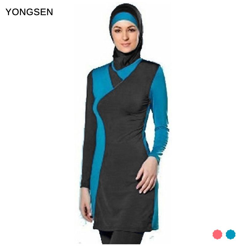 YONGSEN Muslim Women Spa Swimwear Islamic Swimsuit Full Face Hijab Swimming Beachwear Swimsuit Sport Clothing Burkinis