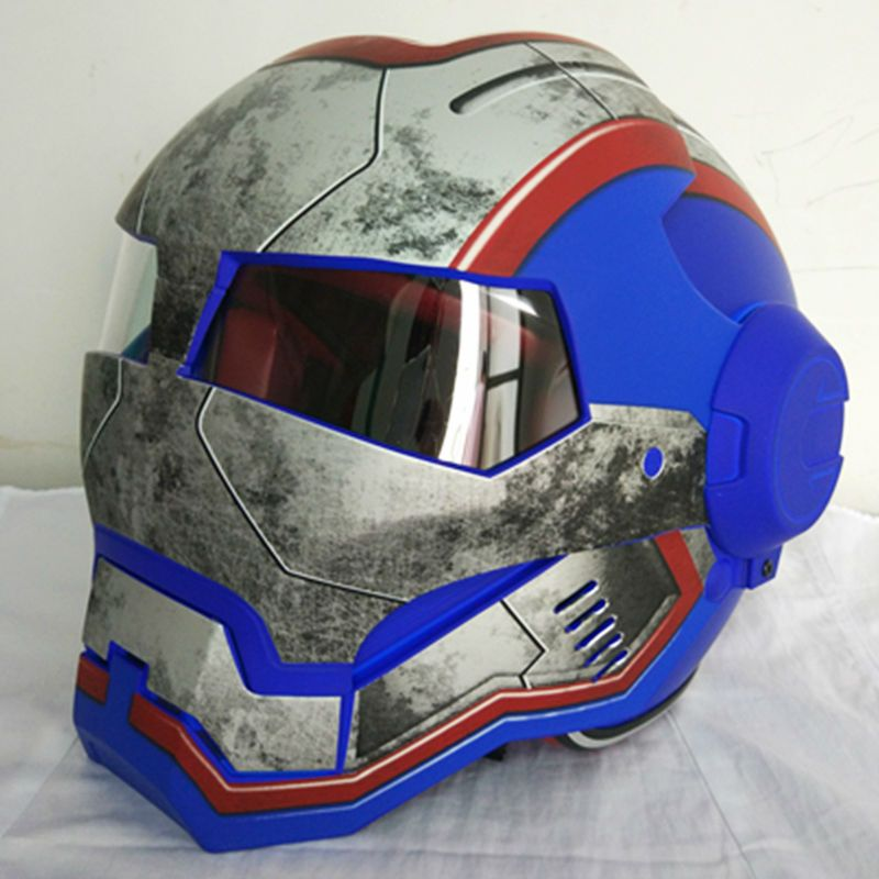 2016 NEW matte Blue retro MASEI IRONMAN Iron Man helmet motorcycle helmet half helmet open face helmet 610 ABS casque motocross