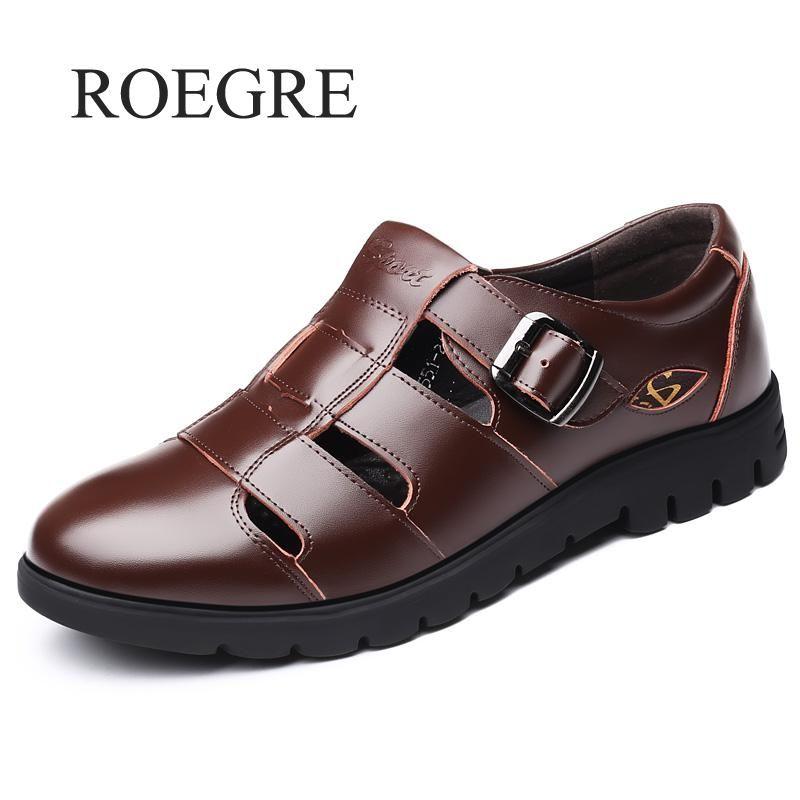 Men Sandals Genuine Leather Sandals Men Outdoor Casual Men Leather Sandals For Men Beach Shoes Roman Shoes Plus Size 38-47