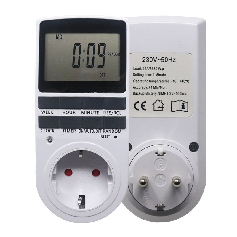 Electronic Digital Timer Switch EU Plug Kitchen Timer Outlet 230V 50HZ 7 Day 12/24 <font><b>Hour</b></font> Programmable Timing Socket