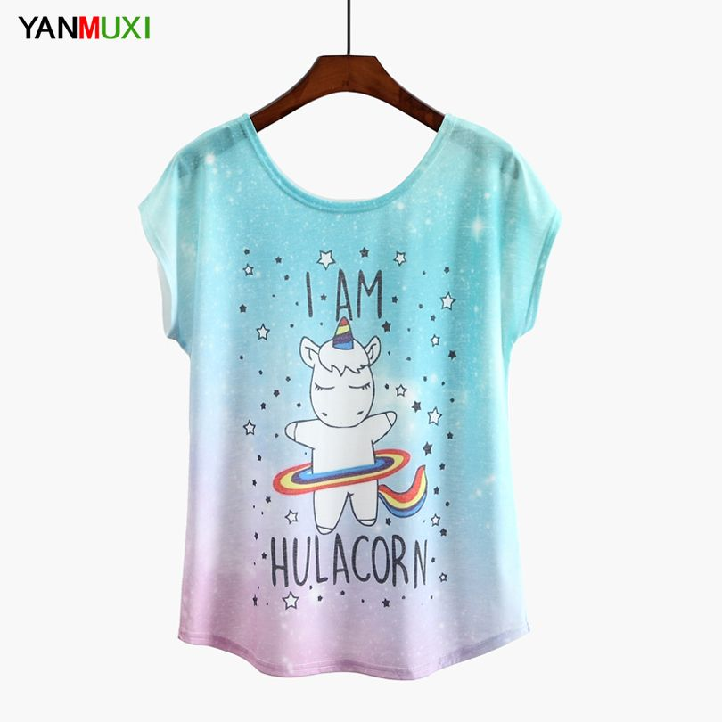 2018 New Unicorn T-shirt For Women Kawaii Fashion Printed Tshirt Female Funny T Shirt Summer Top Tee M-XL