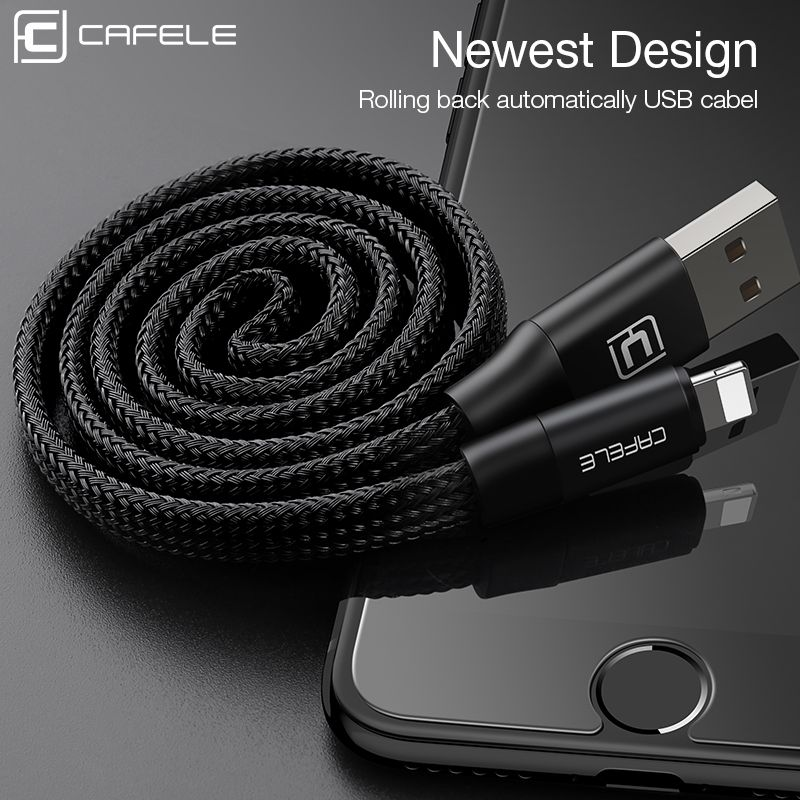 Cafele 60 cm Cable USB para el iphone de Apple 5/5S/SE/6/6 S/6 Plus/7/7 Plus Automático de recogida de USB Cable de Carga para IOS 8-10 Negro