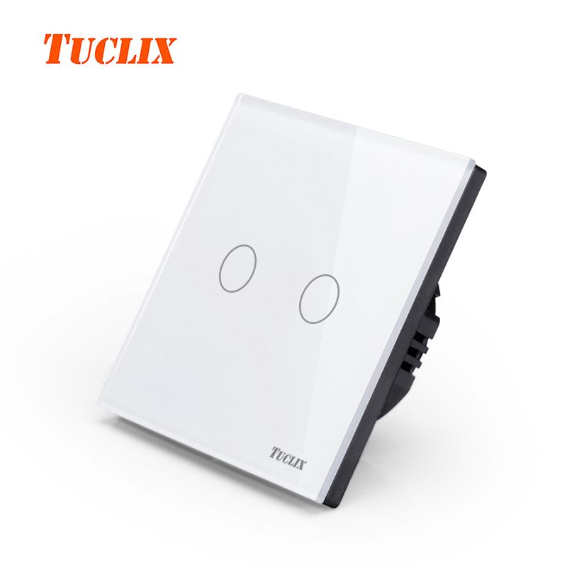 TUCLIX EU/UK Universal Wall Light Switch 110-220V Crystal Glass Panel Switch 2 Gang 1 Way Waterproof Touch Control white