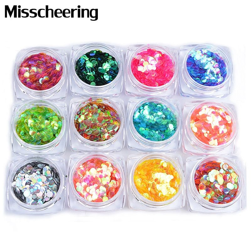 12 Boxes/Set Shinning Ultrathin Mix Size Round Nail Sequins Chameleon Nail Art Glitter 3d Beauty Manicure Decorations For Nails