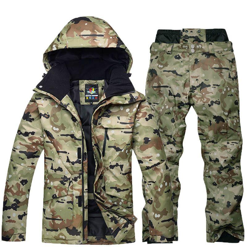 -35 Camouflage Männer skianzug set Spezielle snowboard-anzug Kleidung Wasserdicht Atmungsaktiv winter kostüme schnee anzug jacke + hose
