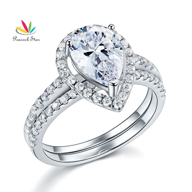 Peacock Star Solid Sterling 925 Silver Bridal Wedding Promise Engagement Ring Set 2 Ct Pear Jewelry CFR8224