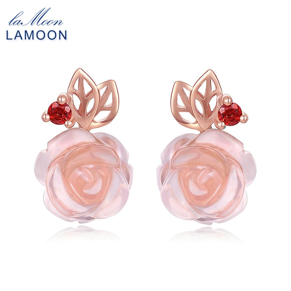 LAMOON Beautiful <font><b>Rose</b></font> Flower Stud Earrings For Women Natural Pink <font><b>Rose</b></font> Quartz 925 Sterling Silver Jewelry Fine Jewelry EI015
