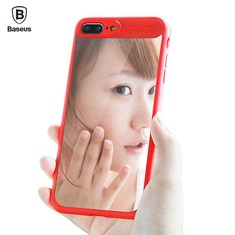 Baseus Miroir Cas de Couverture Pour iPhone 7 Plus De Luxe Clair Capinhas retour Dur PC & Tpu Étui En Silicone Pour iPhone7 Coque Fundas