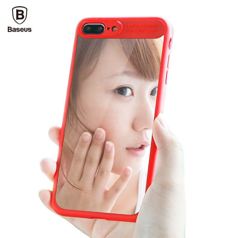 Baseus Mirror Cover Case For iPhone 7 Plus Luxury Clear Capinhas Back Hard PC & Soft TPU Silicone Case For iPhone7 Coque Fundas