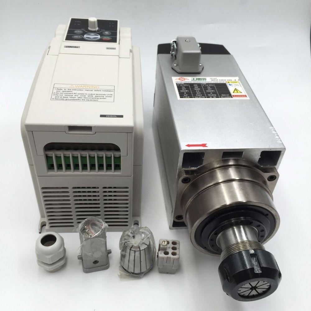 4.5KW ER32 Luft gekühlt CNC Spindelmotor 220 V + 5.5KW VFD Wechselrichter Variable Frequency Treiber für CNC Holzbearbeitung Router