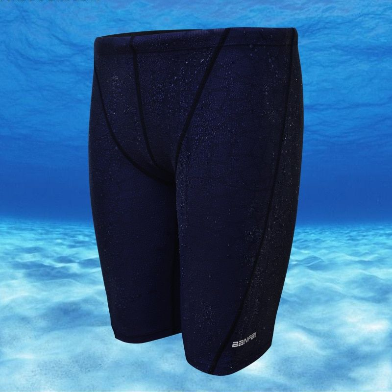 Plus Size L-4XL Jammers Swimwear Fifth Pant Solid Swimsuit Men Competitive Swim Trunks Shark Skin Swimwear High Quality MS011