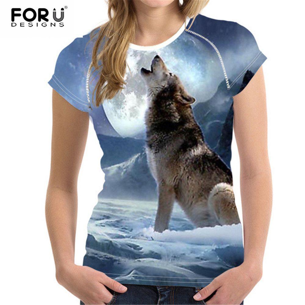 FORUDESIGNS 2019 mode femmes T-Shirt Crop hauts 3D Wolf Design T-Shirt femme à manches courtes T-Shirt Cool pour les filles Roupa Feminina
