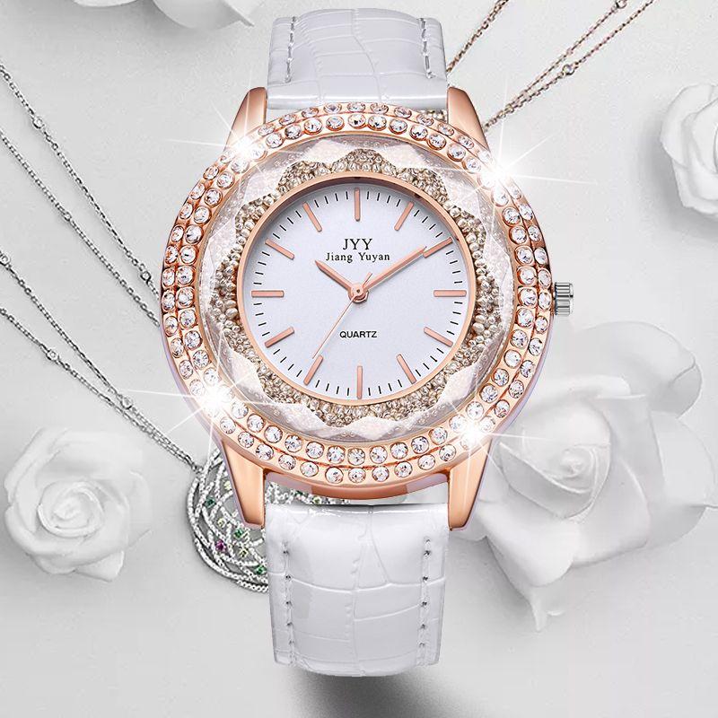 Dropship New Fashion Ladies Leather Crystal Diamond Rhinestone Watches Women Beauty Dress Quartz Wristwatch Hours Reloj Mujer