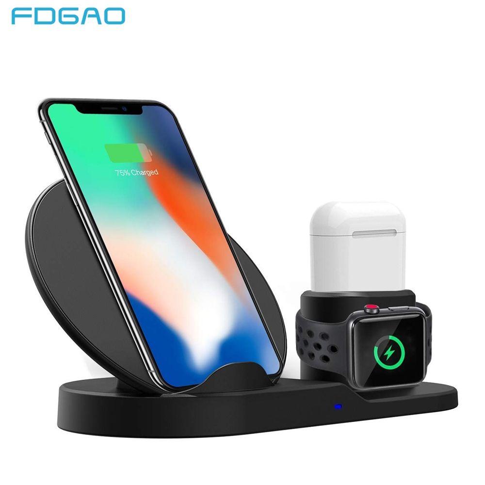 FDGAO 3 en 1 chargeur rapide Qi sans fil pour Apple watch 2 3 4 Airpods pour iPhone XS Max XR X 8 Plus Samsung S9 S8 Note 9