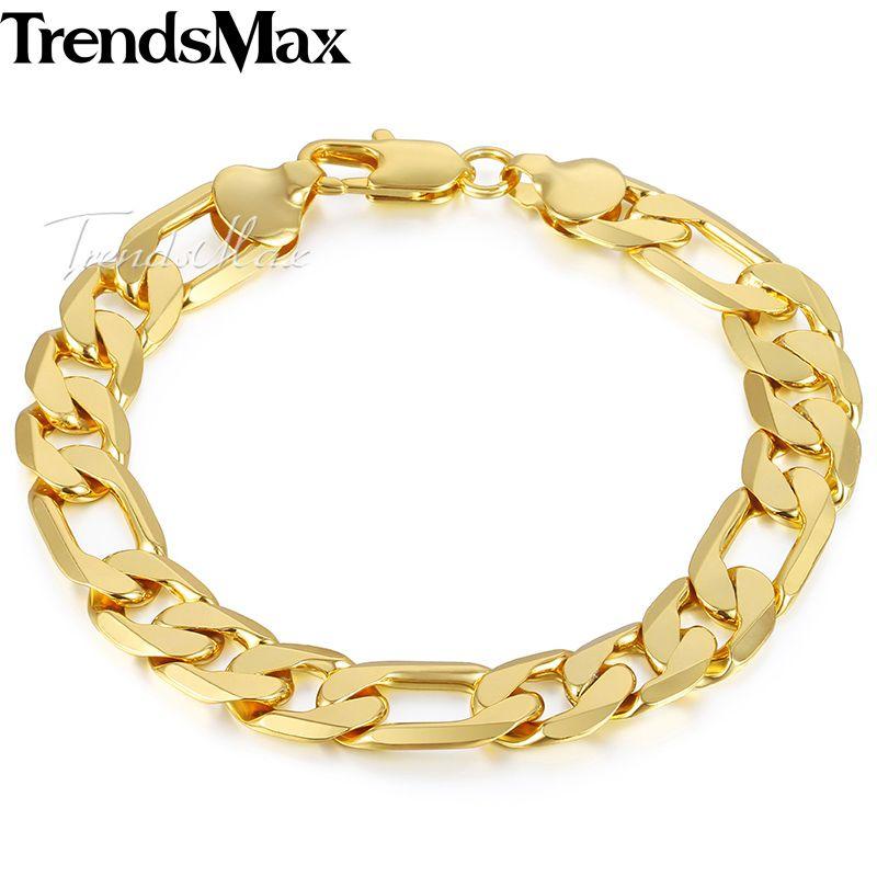 Trendsmax Hommes de Bracelet 2018 Or Figaro Chaîne Bracelets Pour Hommes Accessoires Bijoux Cadeaux Dropshipping Gros 12mm KGB365
