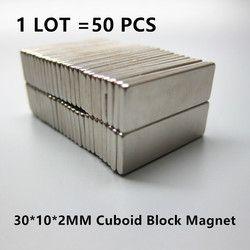 Livraison Gratuite 50 pcs Forte Rare Earth Aimants En Néodyme N35 30x10x2mm