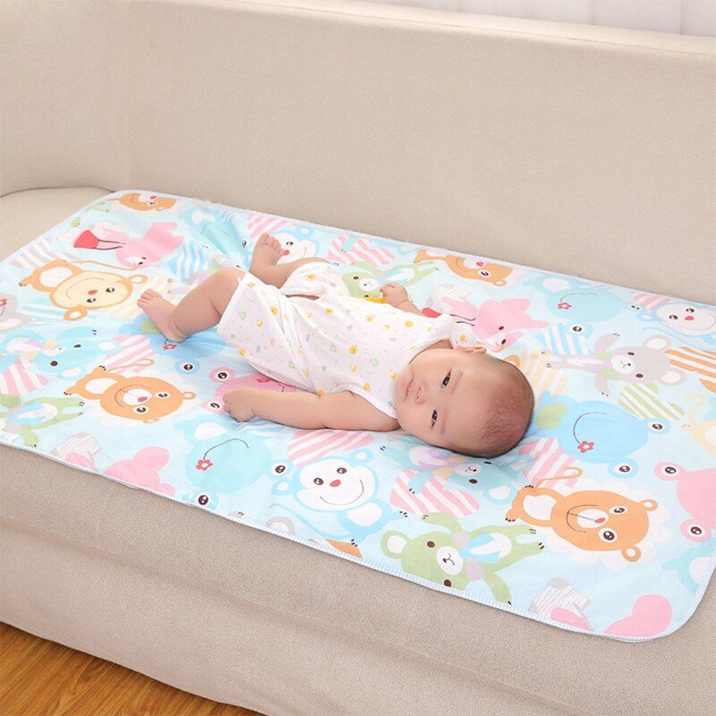 60*90cm Baby Changing Mat Cartoon Cotton Waterproof Sheet Baby Changing Pad Table Diapers Urinal Game Play Cover Infant Mattress