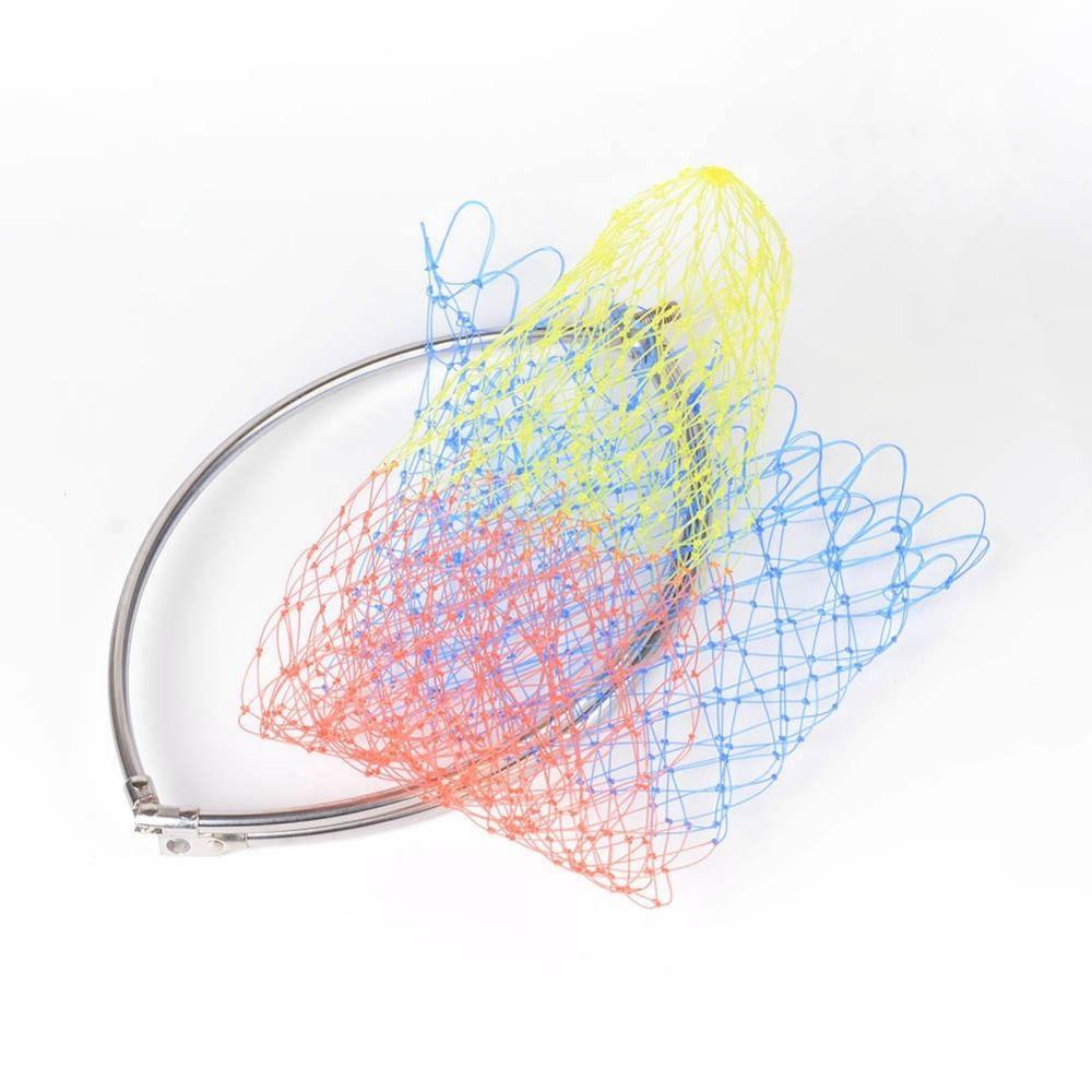 1pcs Colorful Rhombus Mesh Hole Fishing Net Fly Carp Coarse Sea Game Fishing Landing Net Head Foldable Dip Net Best Price