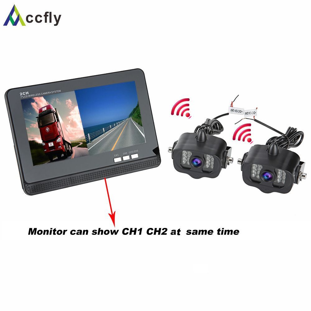 Accfly 12V 24V dual wireless reverse rear view camera for trucks bus excavator Caravan Van camper RV Trailer with Monitor