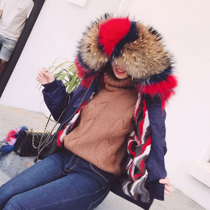 Large Real Natural Raccoon Fur 2018 New Real Fur Coat Bomber Jacket Winter Jacket Women Natural Mink Fur Liner Thick Warm Parkas