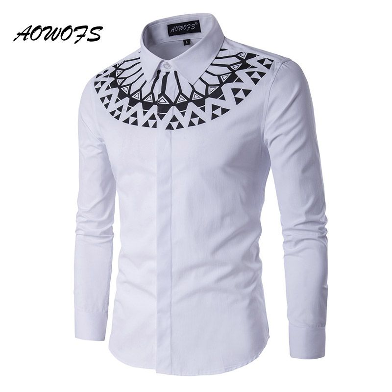AOWOFS New Spring Shirts Men White Fashion Ethnic Pattern Long Sleeve Shirts Men Invisible Closure Brand Clothing Plus Size 5XL