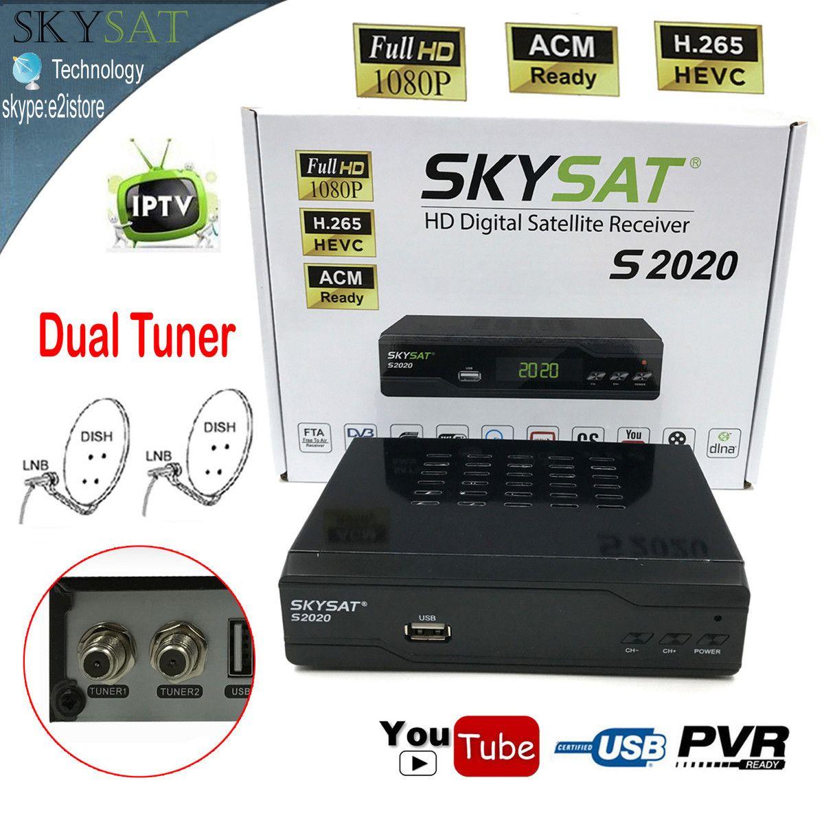 Skysat Dual Dish Twin Tuner H.265 AVC MPEG-4 Digital Satellite Receiver ACM Most Stable Server IKS SKS ACM/VCM/CCM IPTV with LAN