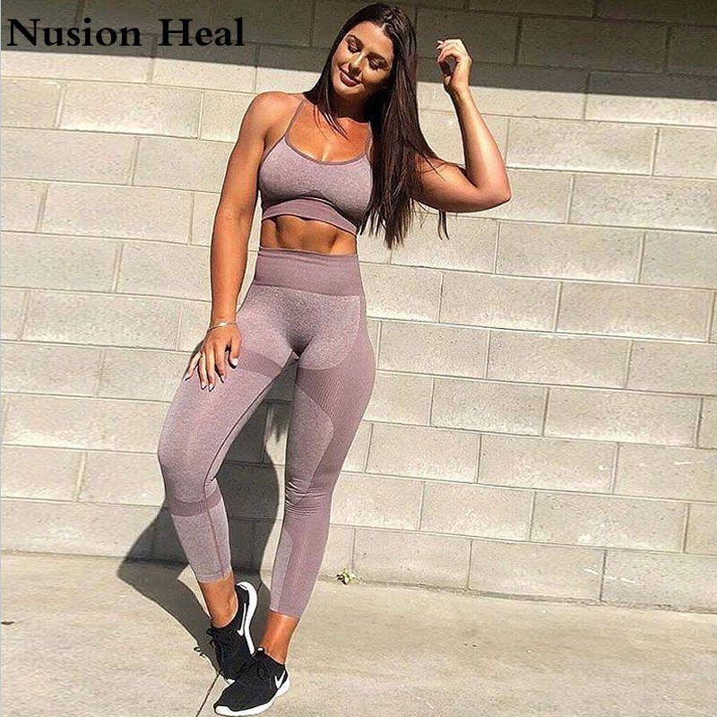 2 pièces femmes Yoga ensemble Gym Ombre sans couture Leggings + recadrée chemises d'entraînement Sport costume femmes Yoga pantalon + Sport soutien-gorge Fitness ensemble porter