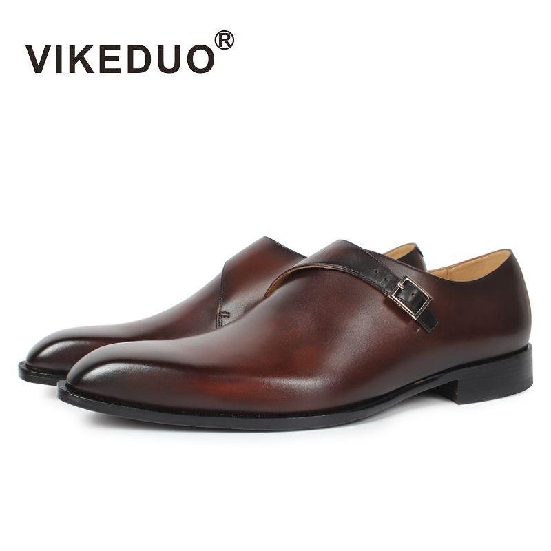 Vikeduo 2018 handgefertigte designer Vintage-mode luxus casual Hochzeit marke männlichen schuh Aus Echtem Leder Herren mönch kleid Schuhe