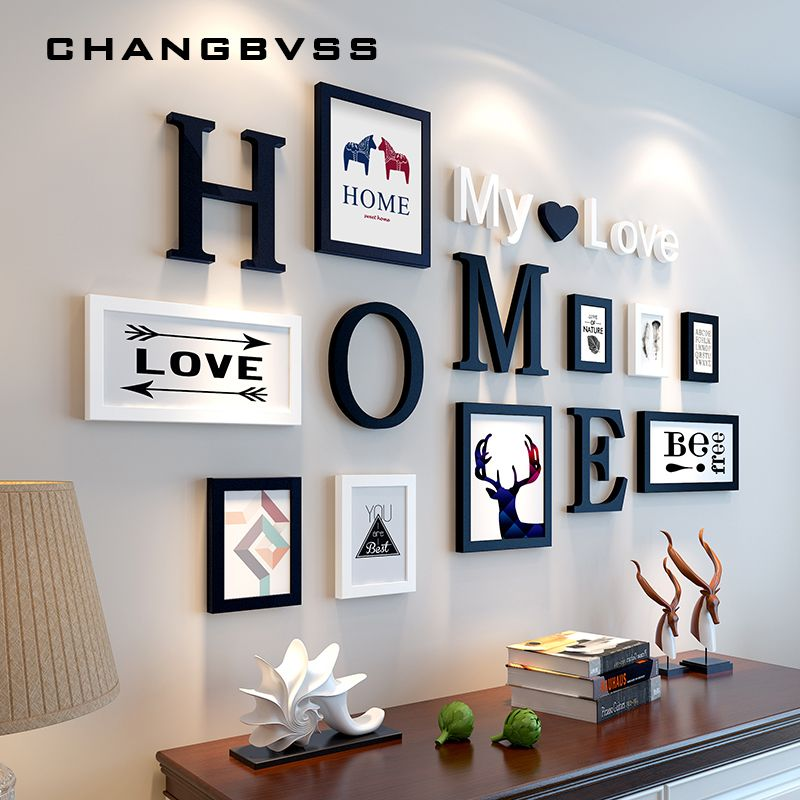 Modern Nordic Style 9Pcs Photo Frame Set Home Wall Decoration Wooden DIY White & Black Picture Frame Kits marcos para fotos