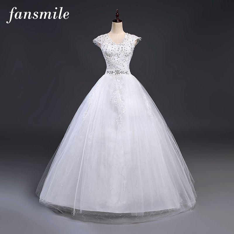 Fansmile Cheap Vestidos de Novia Vintage Plus Size Lace Wedding Dresses 2017 Robe de Mariage Princess Dress Wedding Gowns