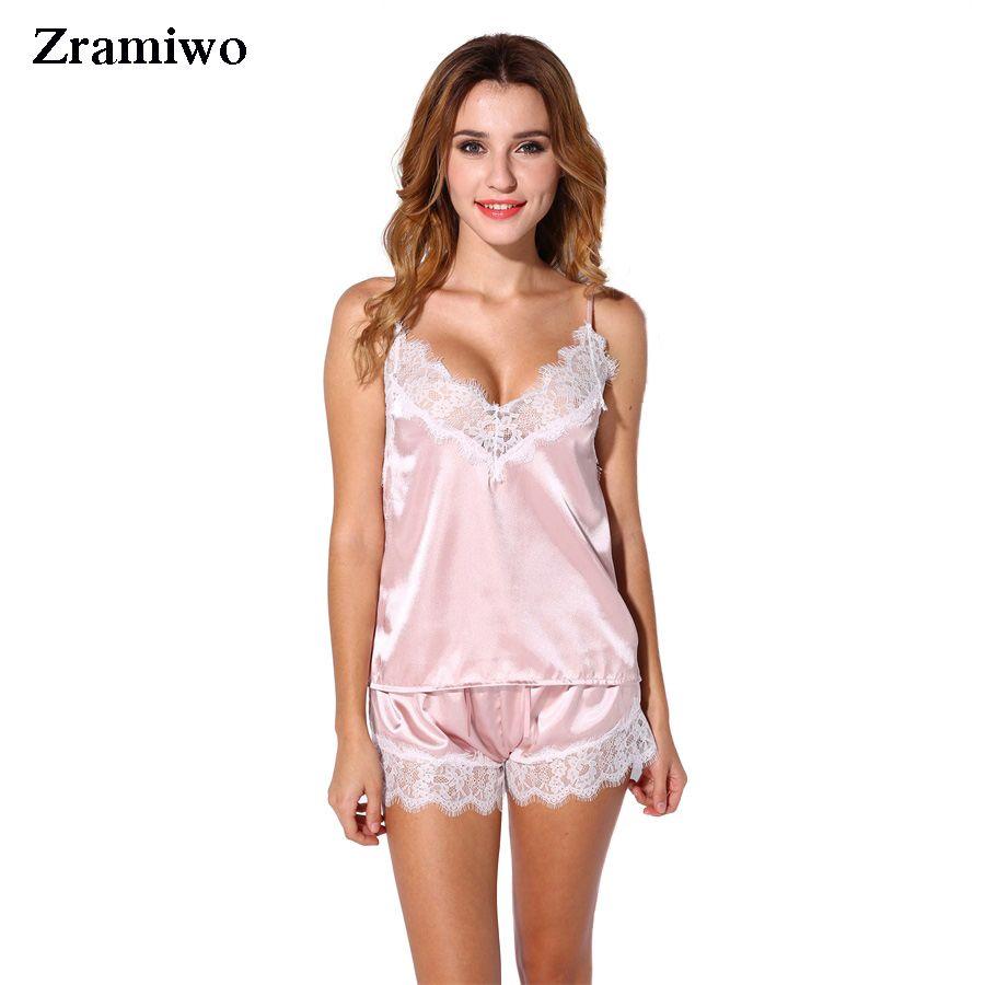 Satin Pajamas Set Lace Trim Pijama Short Pant Sexy Cami Bridal Sleepwear Sets For Women