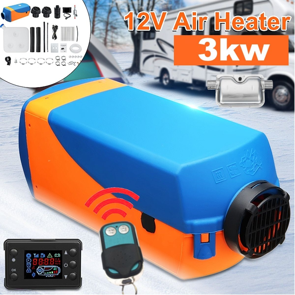 Free Silencer 3KW 12V Parking Heater with Remote Controller for LCD Switch Heating Machine Camping Home Bus Car Truck