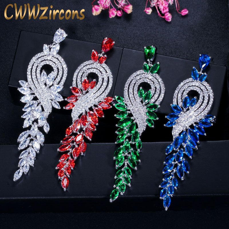 CWWZircons marque haute qualité couleur or blanc cristal autrichien mariée longue rouge vert boucles d'oreilles bijoux pour femmes CZ376