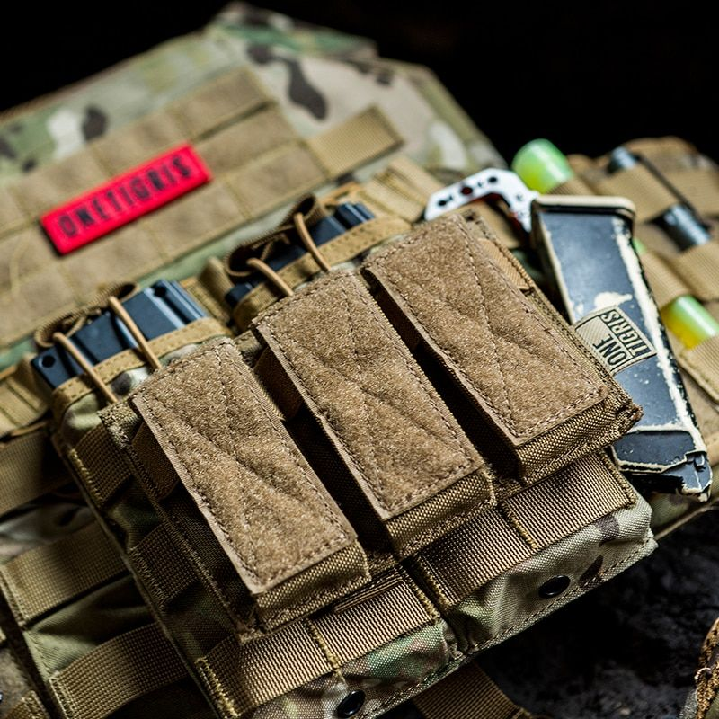 OneTigris Tactical Triple Pistol Magazine Pouch 9mm 40 S&W 45 ACP Mag Pouch For GLOCK, M1911, 92F, 40mm grenades, etc.