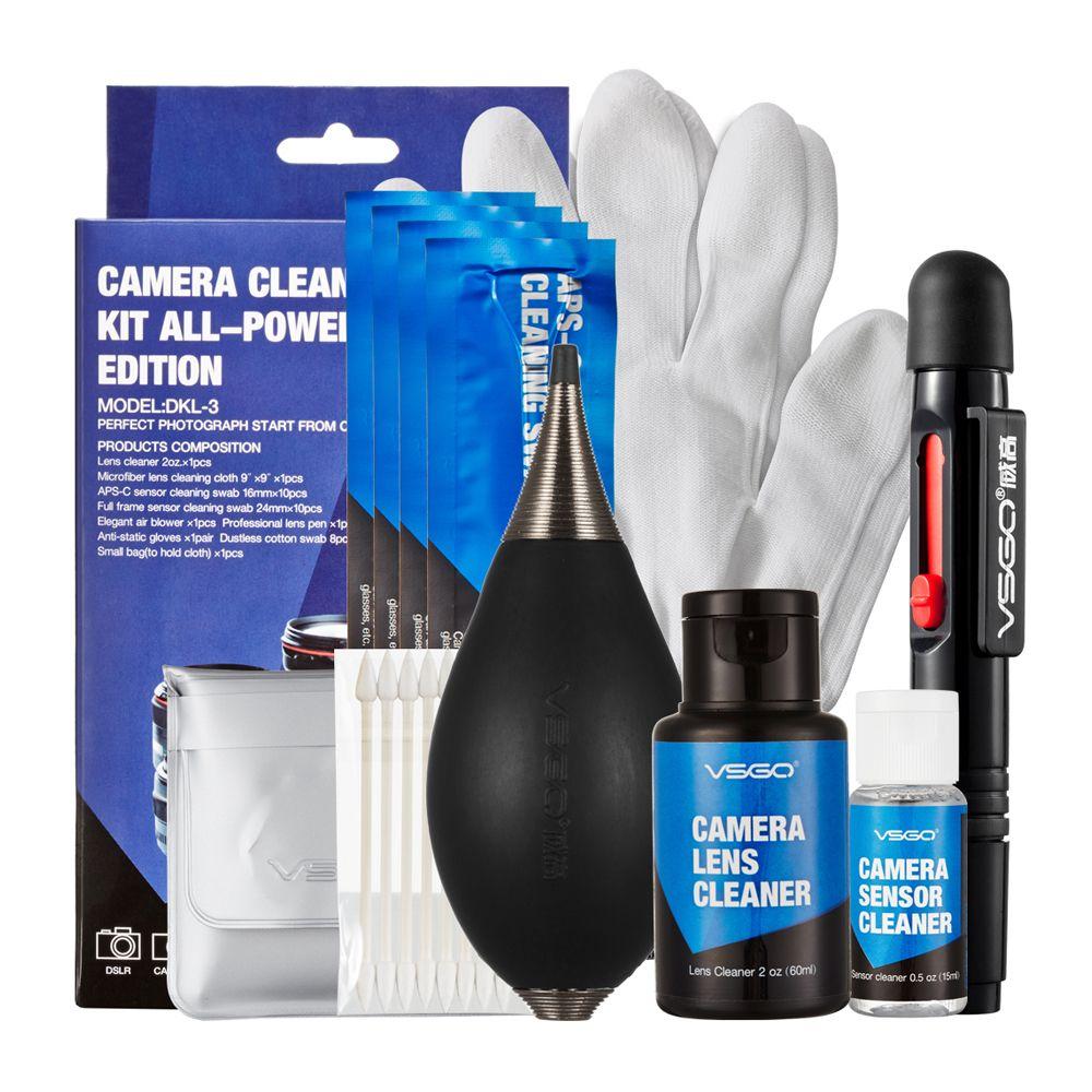 VSGO Kit de nettoyage de caméra professionnel avec stylo de nettoyage de lentille APS-C capteur plein cadre écouvillon ventilateur d'air nettoyant gant et tissu.