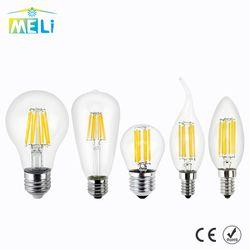 Antique Rétro Vintage LED Edison Ampoule E27 LED Ampoule E14 Filament lumière 220 V Verre Ampoule Lampe 4 W 8 W 12 W 16 W Bougie Lumière lampe