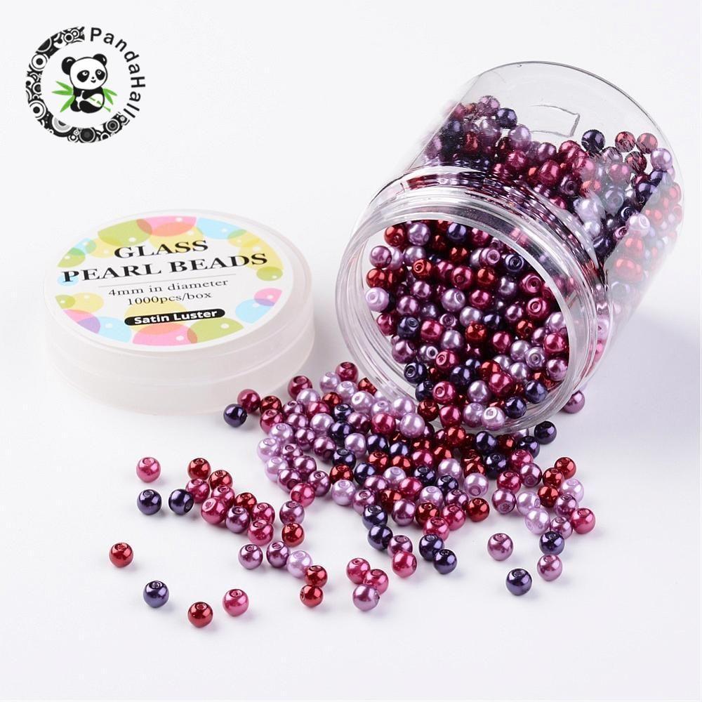 4 ~ 4.5mm Ronda Teñido cuentas de Perlas de Vidrio Establece sueltos para Hacer La Joyería de DIY Color Mezclado, agujero: 0.7 ~ 1mm; aproximadamente 1000 unids/caja.