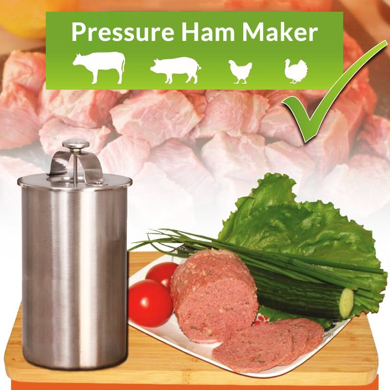 Stainless Steel Ham Meat Making Pot Patty Maker Ham Press With a Thermometer Kitchen Meat Tool Meat Cooking Pot Ham Maker
