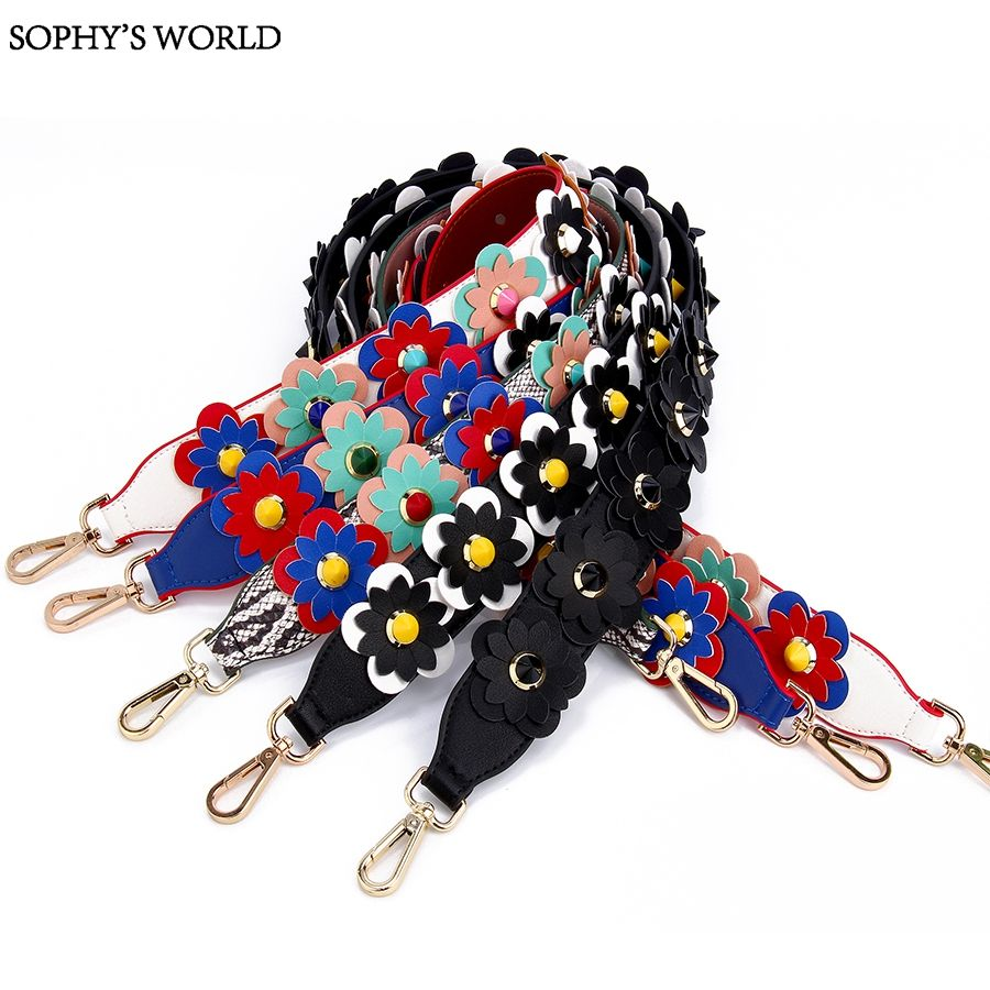 Great Leather Flower Shoulder Strap For Bags Metal Clasps For Purses Rivet Petal Strap Belt For Women Handbag Accessoires Sac