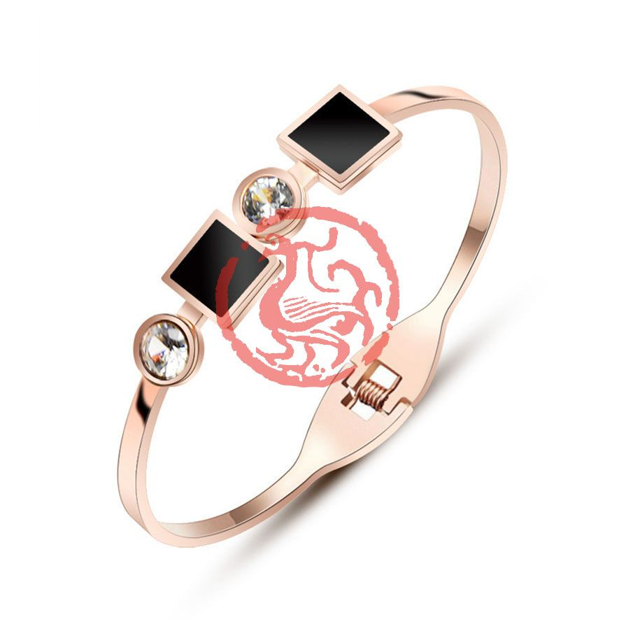 Black Crystal Nature Stone Cuff Bracelets For Women Bijoux Fashion Jewelry Stainless Steel Open Bracelet Femme Luxury Brand