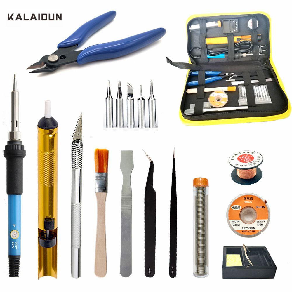 KALAIDUN Soldering Iron Kit 60W Adjustable Temperature Welding Tool 5pcs Soldering Iron Tips Wire Tip Pliers Desoldering Pump