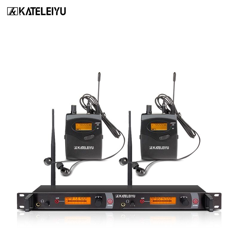 KATELEIYU EM2050 Wireless Monitor System of stage UHF In Ear Headphones Ear 2 Receivers sound Professional Microphones