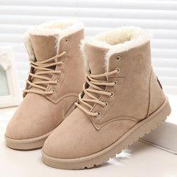 Clásico mujeres invierno Botas Suede tobillo Botas de nieve mujer caliente Pieles de animales felpa Plantilla de alta calidad botas mujer Encaje-up