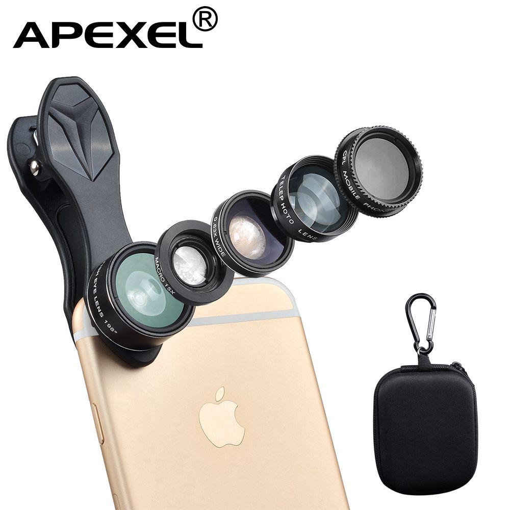 APEXEL Mobile Téléphone Lentille 5in1 Fish Eye Objectif Grand Angle Macro télescope CPL Pour iPhone 5 6 s Plus Samsung xiaomi fisheyeLentes DG5