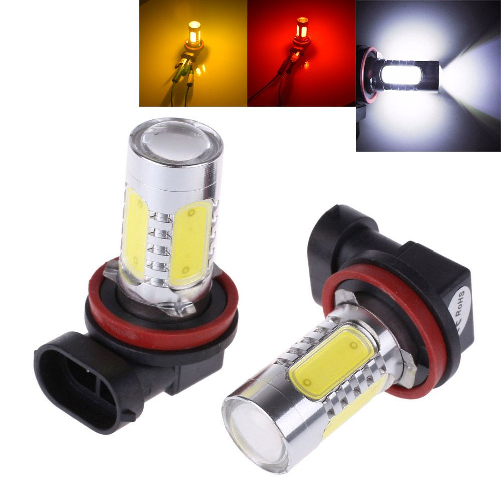 2Pcs White H8 lamp H11 LED COB Bulb Car Auto HeadLight Driving Fog Lamp 12V DC