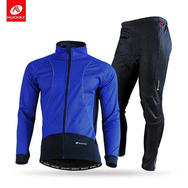 NUCKILY Men's Winter Windproof Outdoor Breathable Polyester Cycling Sports jersey Suit NJ525NS358
