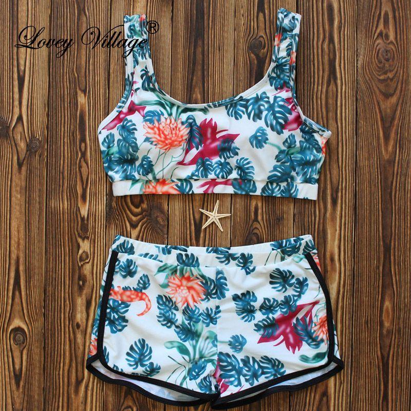 Bikinis Femmes Sexy Rembourré Fille Maillot de bain Tankini Maillots de Bain Maillots De Bain Femme Push Up Maillot de Bain Bikinis Set Avec Shorts Troncs