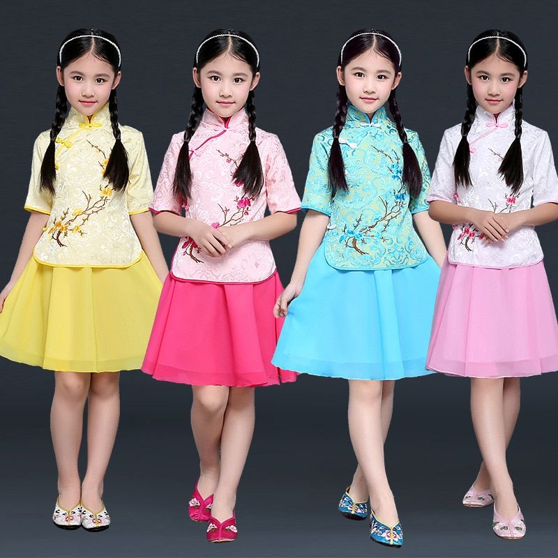 New Design Multicolor Girls Ancient Chinese Hanfu Dress Tang Dynasty Costume Kids Hanfu Traditional Costume Top +skirt