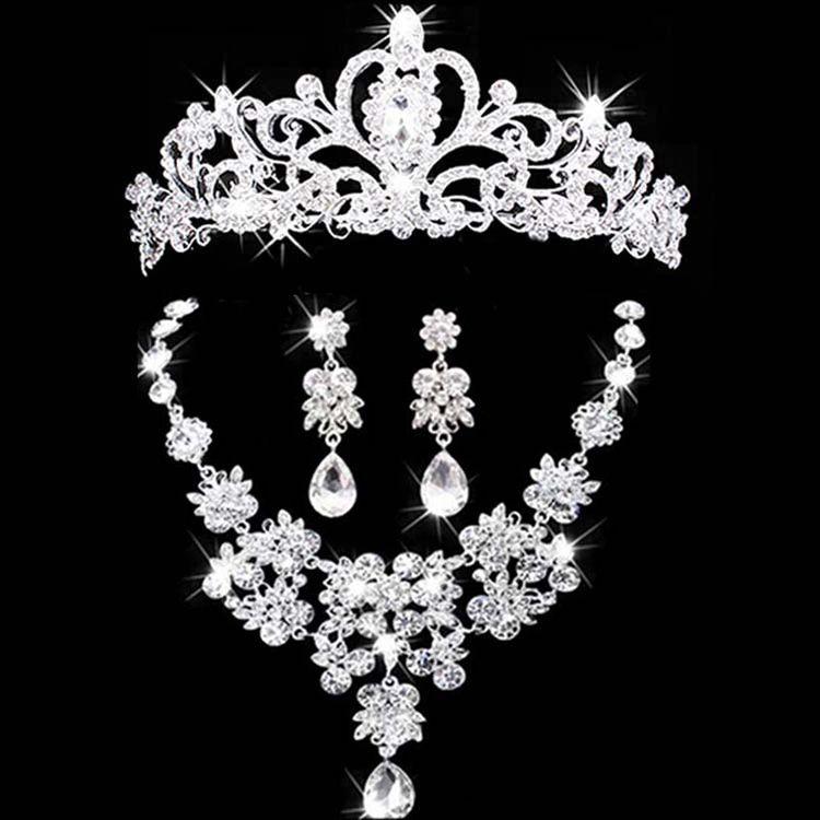 Свадебные украшения короны набор колье и серьги диадема со стразами Свадебные аксессуары Свадебные Кристалл Ювелирные наборы